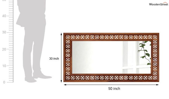 Cambrey Rectangle Mirror With Frame (Teak Finish)-3