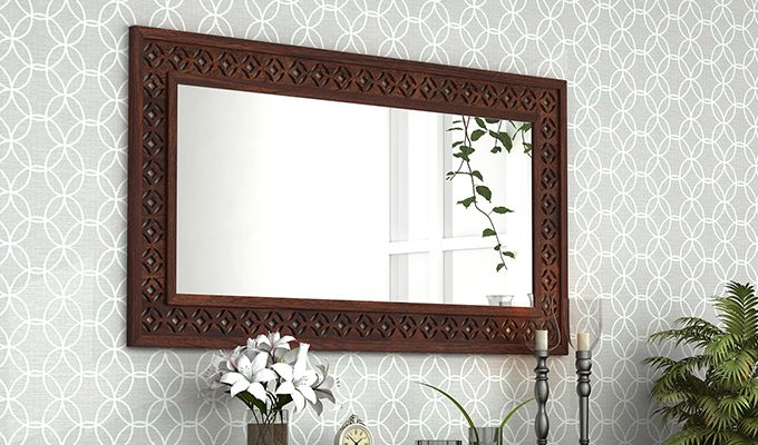 Cambrey Rectangle Mirror With Frame (Walnut Finish)-1
