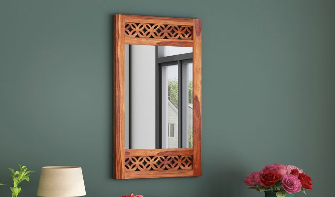 Cambrey Side Stripped Mirror With Frame (Teak Finish)-1