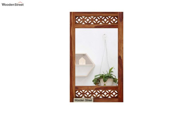 Cambrey Side Stripped Mirror With Frame (Teak Finish)-3