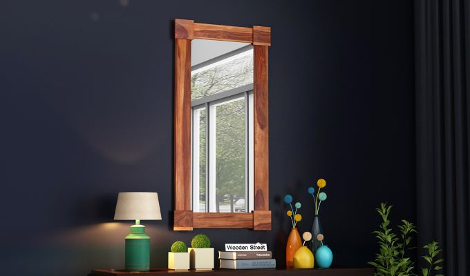 Cuba Decor Mirror With Frame (Teak Finish)-1
