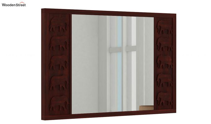 Emboss Mirror With Frame (Mahogany Finish)-1