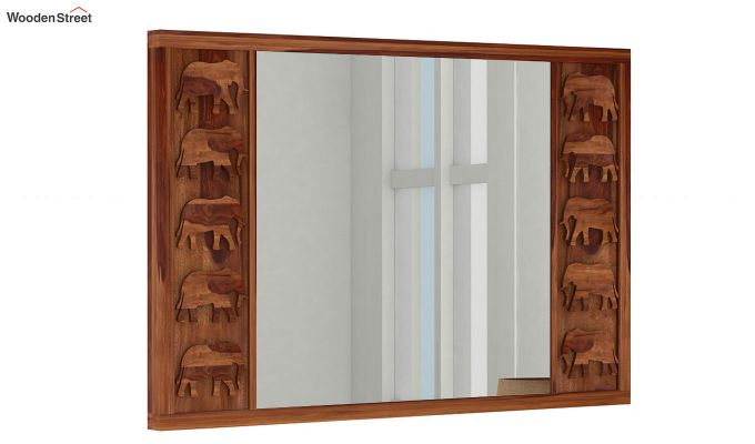 Emboss Mirror With Frame (Teak Finish)-1