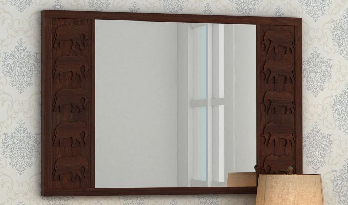 Emboss Mirror With Frame (Walnut Finish)-1