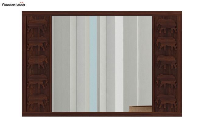 Emboss Mirror With Frame (Walnut Finish)-3