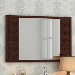 Emboss Mirror With Frame (Walnut Finish)