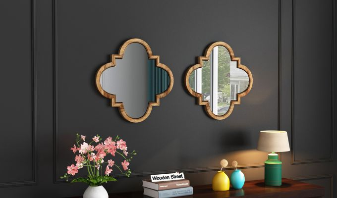 Fleur Decor Set Of 2 Mirror with Frame (Natural Finish)-1