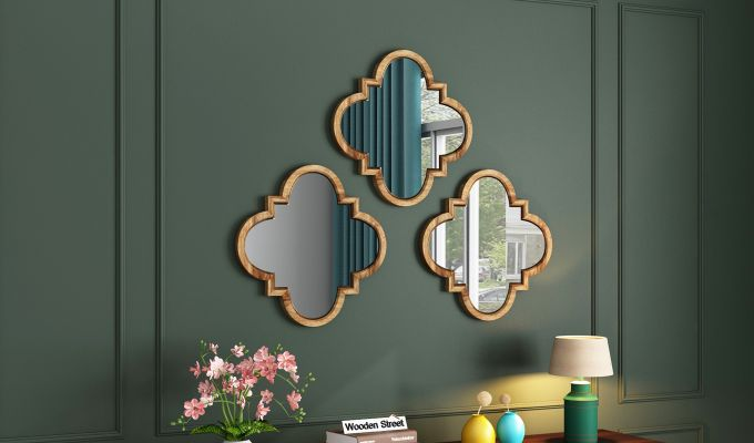 Fleur Decor Set of 3 Mirror With Frame (Natural Finish)-1