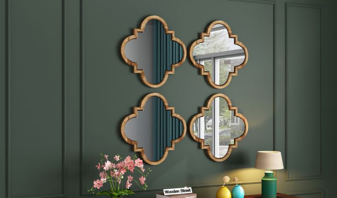Fleur Decor Set Of 4 Mirror with Frame (Natural Finish)-1