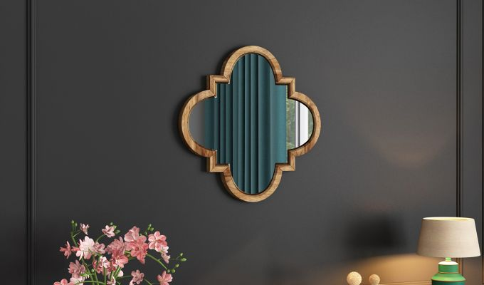 Fleur Decor Mirror with Frame (Natural Finish)-1