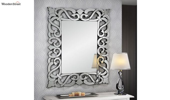 Glass Rectangle Wall Mirror in Silver Colour-1