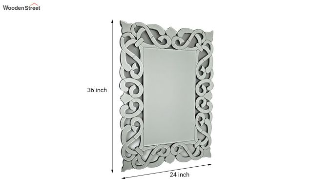 Glass Rectangle Wall Mirror in Silver Colour-3