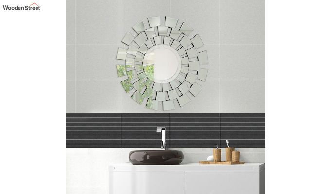 Glass Round Frame Decorative Wall Mirror-1