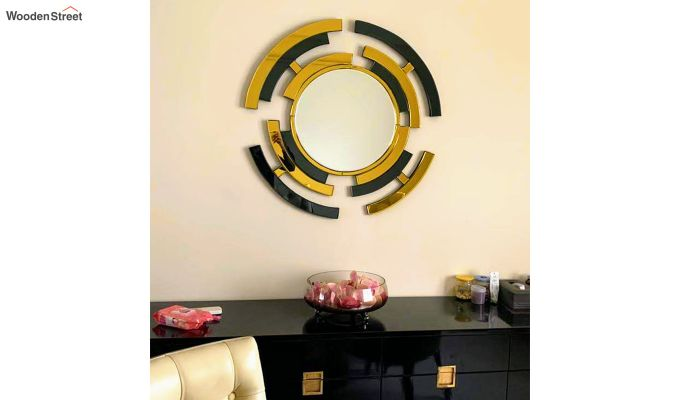 Glass Wall Mirror in Black and Gold Colour-3