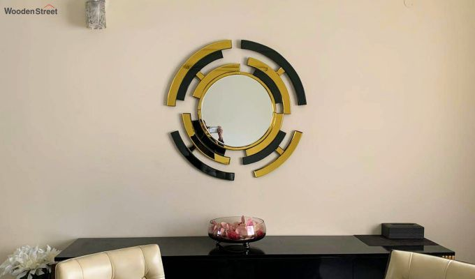Glass Wall Mirror in Black and Gold Colour-1