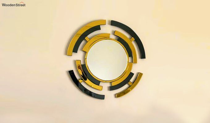 Glass Wall Mirror in Black and Gold Colour-2