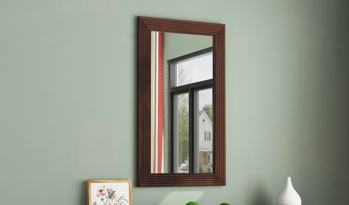 Groove Mirror With Frame (Walnut Finish)-1