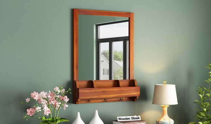Kyra Mirror With Frame (Honey Finish)-1