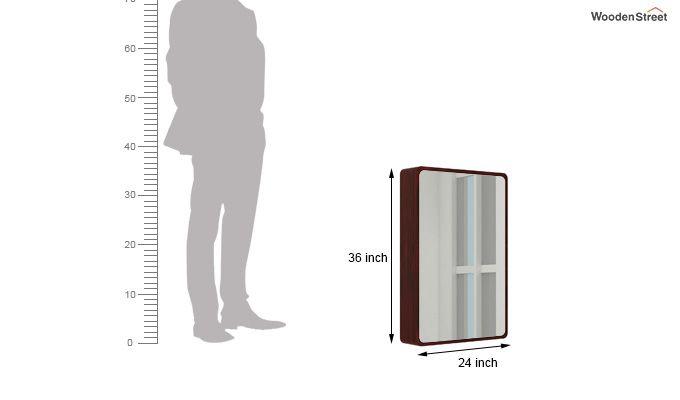 Walken Wall mounted Mini Storage Mirror (Mahogany Finish)-5