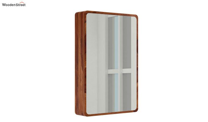 Walken Wall mounted Mini Storage Mirror (Teak Finish)-1