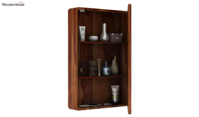 Walken Wall mounted Mini Storage Mirror (Teak Finish)-3