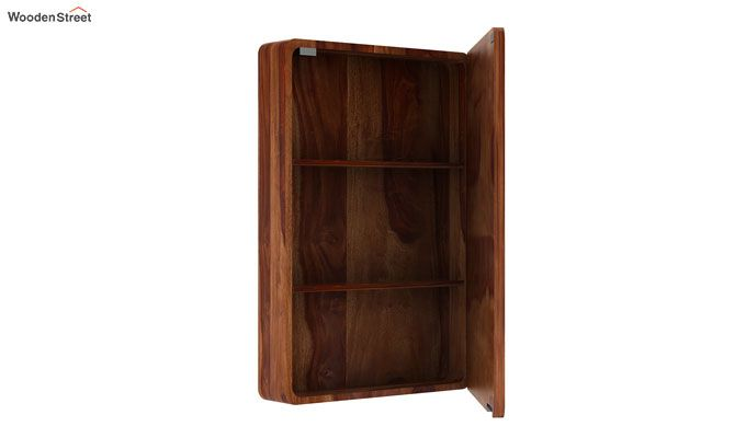 Walken Wall mounted Mini Storage Mirror (Teak Finish)-4
