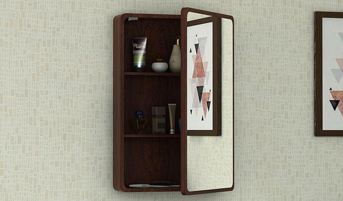 Walken Wall mounted Mini Storage Mirror (Walnut Finish)-1