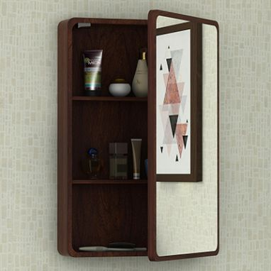 Walken Wall mounted Mini Storage Mirror (Walnut Finish)