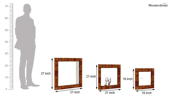 Morse Set Of 3 Mirror With Frame (Honey Finish)-4