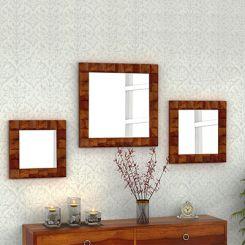 Morse Set Of 3 Mirror With Frame (Honey Finish)