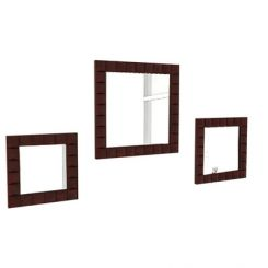 Morse Set Of 3 Mirror With Frame (Mahogany Finish)
