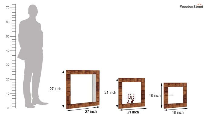 Morse Set Of 3 Mirror With Frame (Teak Finish)-3