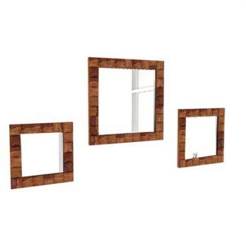 Morse Set Of 3 Mirror With Frame (Teak Finish)