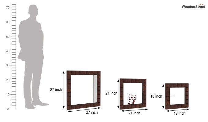 Morse Set Of 3 Mirror With Frame (Walnut Finish)-3