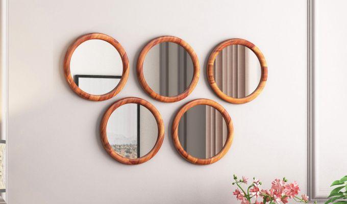 Olympus Set of 5 Round Mirror with Frame (Honey Finish)-1