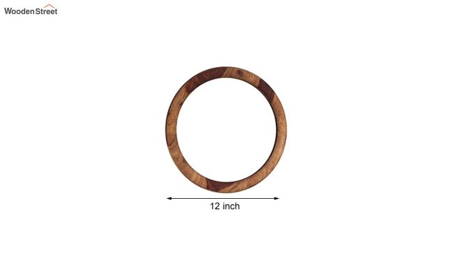 Olympus Set of 5 Round Mirror with Frame (Teak Finish)-4