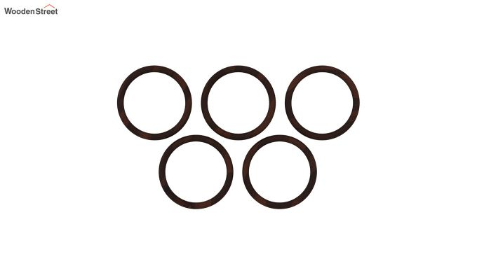 Olympus Set of 5 Round Mirror with Frame (Walnut Finish)-2