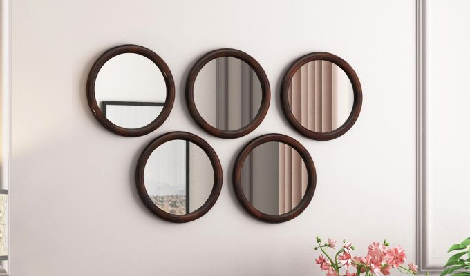 Olympus Set of 5 Round Mirror with Frame (Walnut Finish)-1