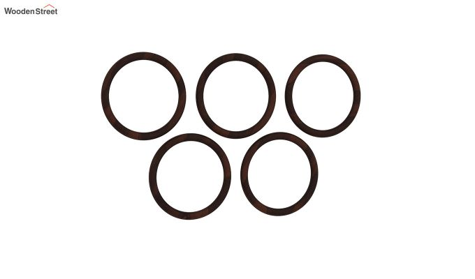 Olympus Set of 5 Round Mirror with Frame (Walnut Finish)-3