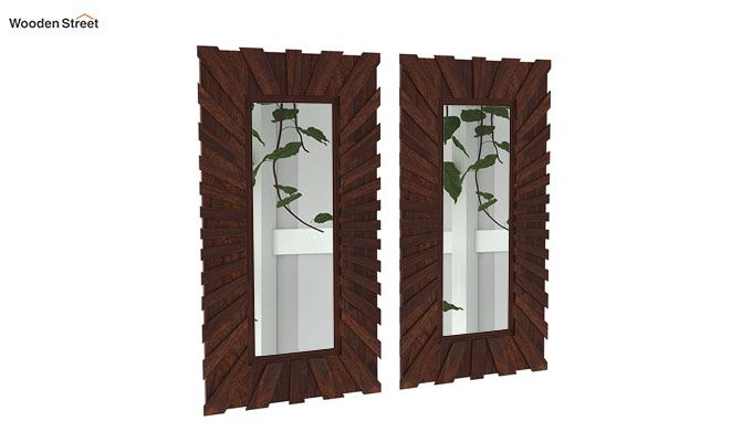Persian Set Of 2 Mirror With Frame (Walnut Finish)-2