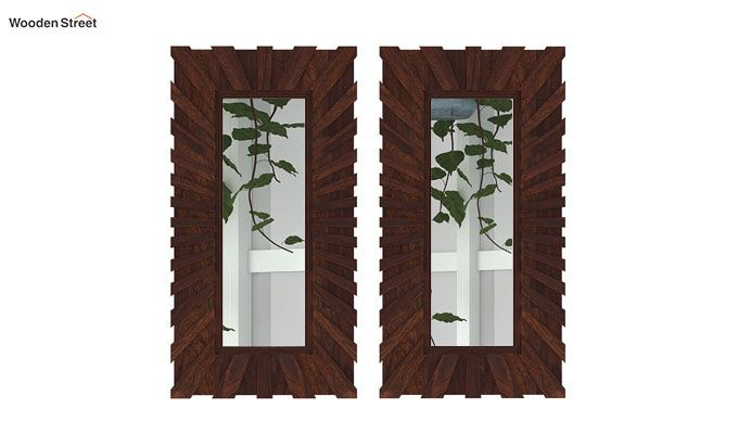 Persian Set Of 2 Mirror With Frame (Walnut Finish)-3