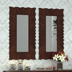 Persian Set Of 2 Mirror With Frame (Walnut Finish)