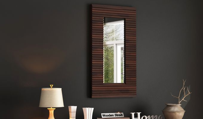 Raft Mirror With Frame (Walnut Finish)-1