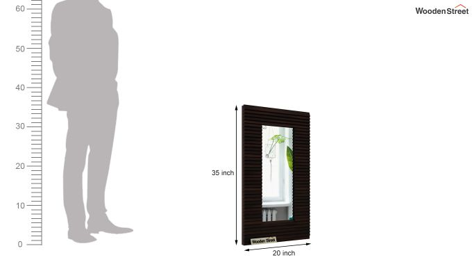 Raft Mirror With Frame (Walnut Finish)-4