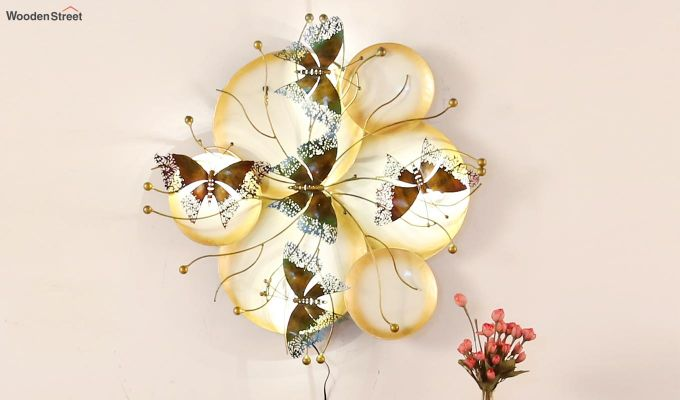 Butterfly Plates Wall Hanging (Gold Color)-2