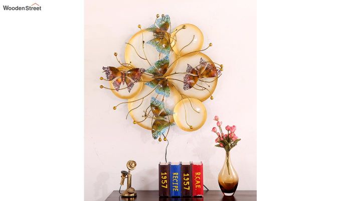 Butterfly Plates Wall Hanging (Gold Color)-3