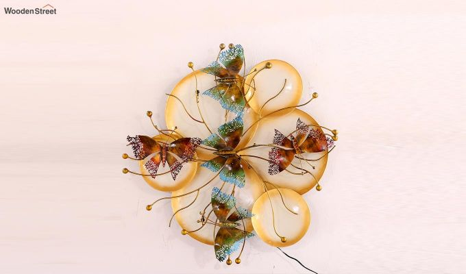 Butterfly Plates Wall Hanging (Gold Color)-4
