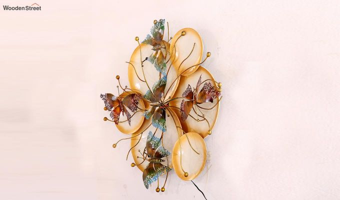 Butterfly Plates Wall Hanging (Gold Color)-5