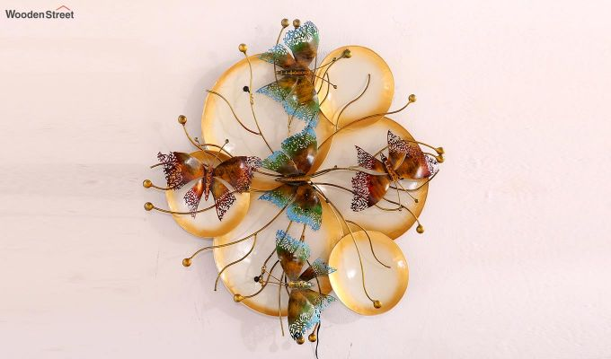 Butterfly Plates Wall Hanging (Gold Color)-6