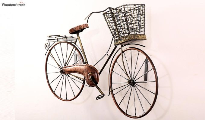 Cycle with Basket Wall Hanging (Bronze Color)-4